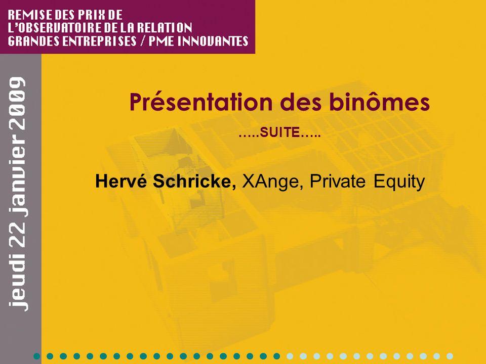 Présentation des binômes …..SUITE….. Hervé Schricke, XAnge, Private Equity