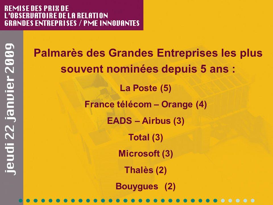 Palmarès des Grandes Entreprises les plus souvent nominées depuis 5 ans : La Poste (5) France télécom – Orange (4) EADS – Airbus (3) Total (3) Microsoft (3) Thalès (2) Bouygues (2)