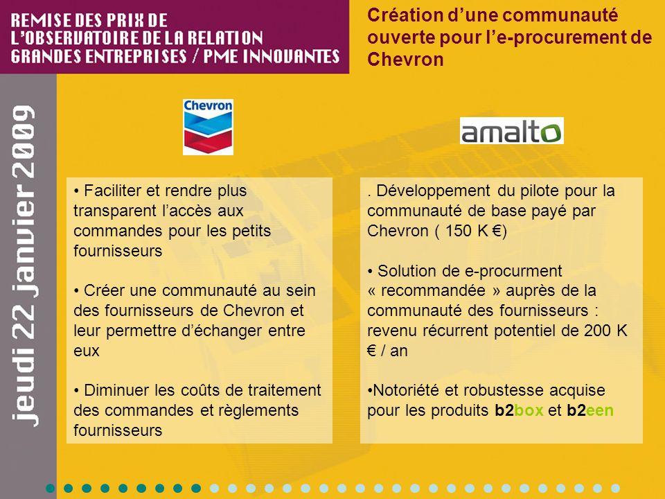 Faciliter et rendre plus transparent laccès aux commandes pour les petits fournisseurs Créer une communauté au sein des fournisseurs de Chevron et leu