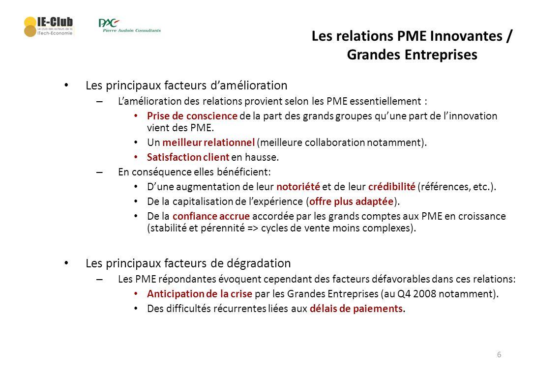 6 Les relations PME Innovantes / Grandes Entreprises Les principaux facteurs damélioration – Lamélioration des relations provient selon les PME essent