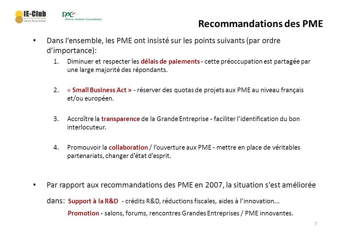 7 Recommandations des PME Dans lensemble, les PME ont insisté sur les points suivants (par ordre dimportance): 1.Diminuer et respecter les délais de p