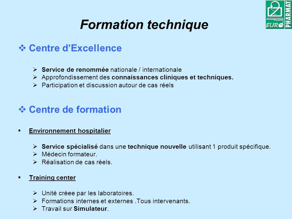 Formation technique Centre dExcellence Service de renommée nationale / internationale Approfondissement des connaissances cliniques et techniques.
