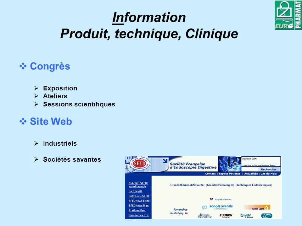 Information Produit, technique, Clinique Congrès Exposition Ateliers Sessions scientifiques Site Web Industriels Sociétés savantes