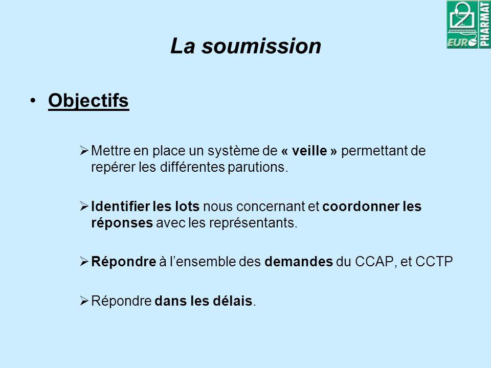 La soumission Objectifs Mettre en place un système de « veille » permettant de repérer les différentes parutions. Identifier les lots nous concernant