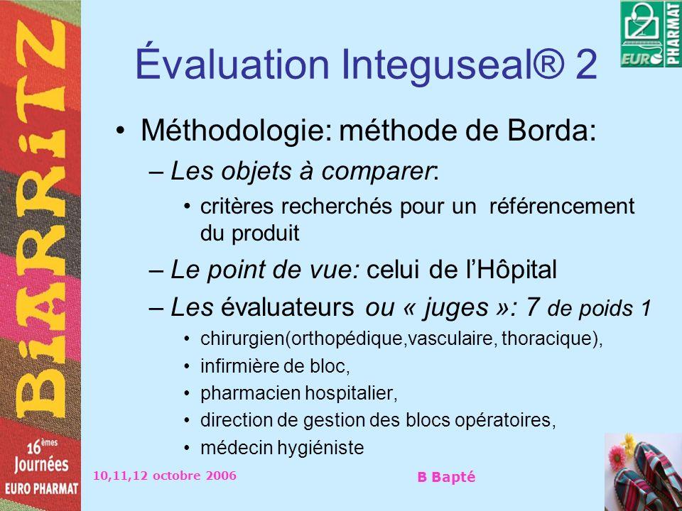 10,11,12 octobre 2006 B Bapté Évaluation Integuseal® 2 Méthodologie: méthode de Borda: –Les objets à comparer: critères recherchés pour un référenceme