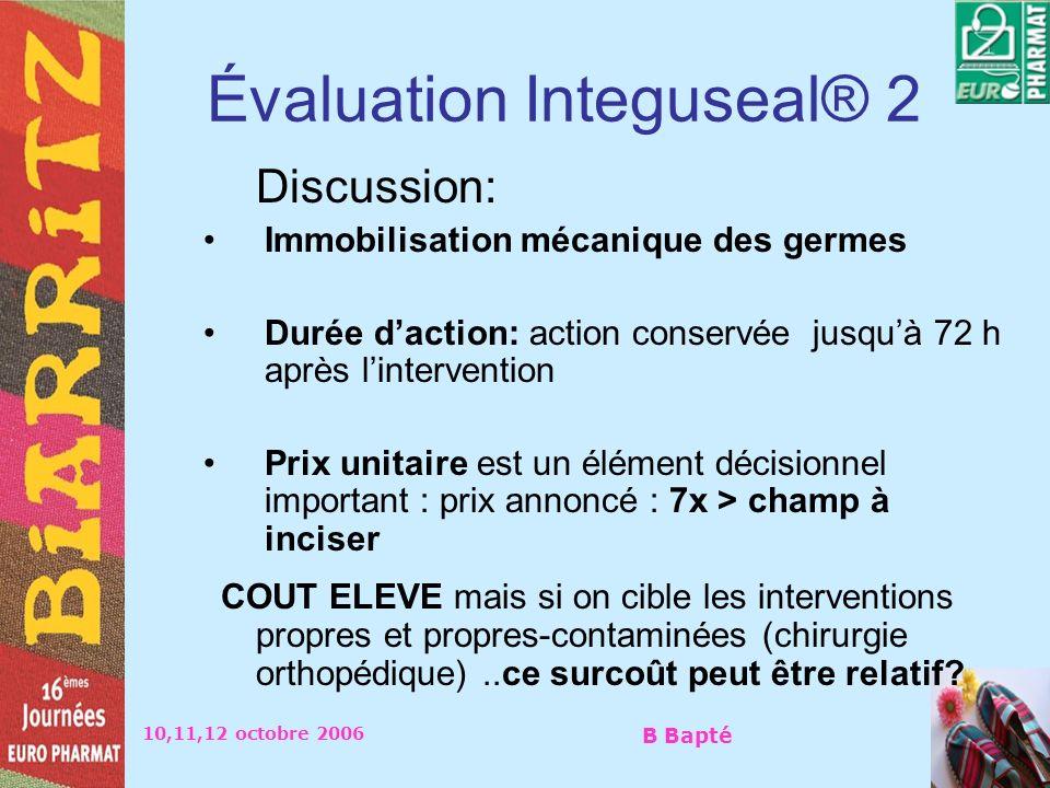 10,11,12 octobre 2006 B Bapté Évaluation Integuseal® 2 Discussion: Immobilisation mécanique des germes Durée daction: action conservée jusquà 72 h apr