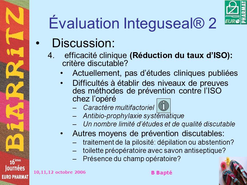 10,11,12 octobre 2006 B Bapté Évaluation Integuseal® 2 Discussion: 4. efficacité clinique (Réduction du taux dISO): critère discutable? Actuellement,