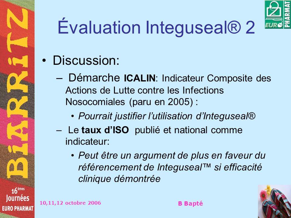 10,11,12 octobre 2006 B Bapté Évaluation Integuseal® 2 Discussion: – Démarche ICALIN: Indicateur Composite des Actions de Lutte contre les Infections