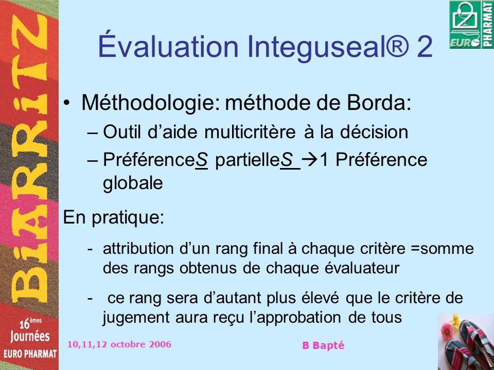 10,11,12 octobre 2006 B Bapté Évaluation Integuseal® 2 Méthodologie: méthode de Borda: –Outil daide multicritère à la décision –PréférenceS partielleS