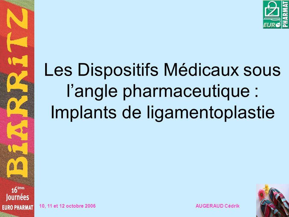 Les Dispositifs Médicaux sous langle pharmaceutique : Implants de ligamentoplastie 10, 11 et 12 octobre 2006 AUGERAUD Cédrik