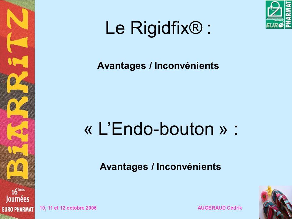 Le Rigidfix® : Avantages / Inconvénients 10, 11 et 12 octobre 2006 AUGERAUD Cédrik « LEndo-bouton » : Avantages / Inconvénients