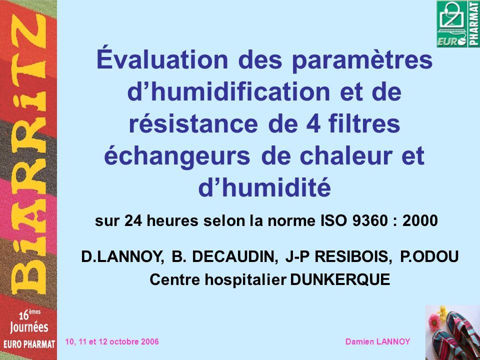 Évaluation des paramètres dhumidification et de résistance de 4 filtres échangeurs de chaleur et dhumidité sur 24 heures selon la norme ISO 9360 : 200