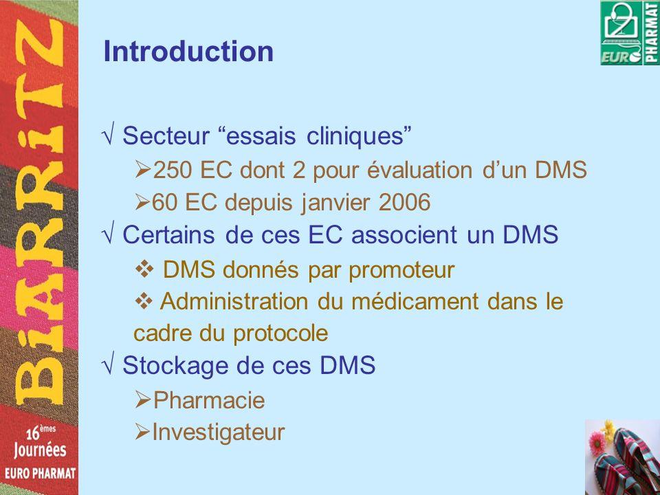 Introduction Secteur essais cliniques 250 EC dont 2 pour évaluation dun DMS 60 EC depuis janvier 2006 Certains de ces EC associent un DMS DMS donnés p