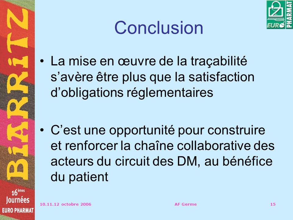 10.11.12 octobre 2006AF Germe15 Conclusion La mise en œuvre de la traçabilité savère être plus que la satisfaction dobligations réglementaires Cest une opportunité pour construire et renforcer la chaîne collaborative des acteurs du circuit des DM, au bénéfice du patient