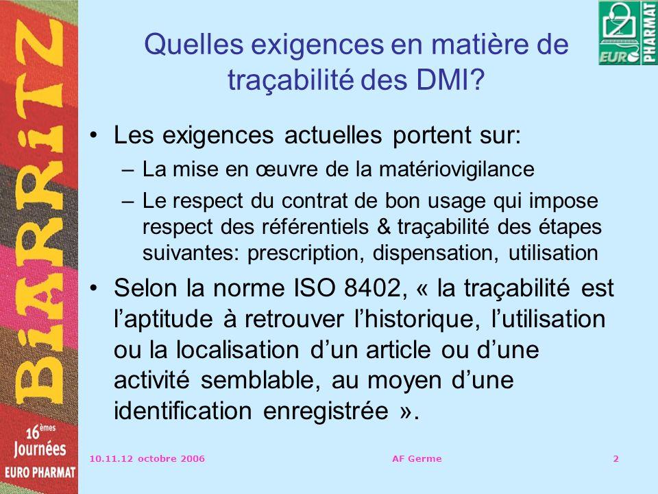 10.11.12 octobre 2006AF Germe2 Quelles exigences en matière de traçabilité des DMI.