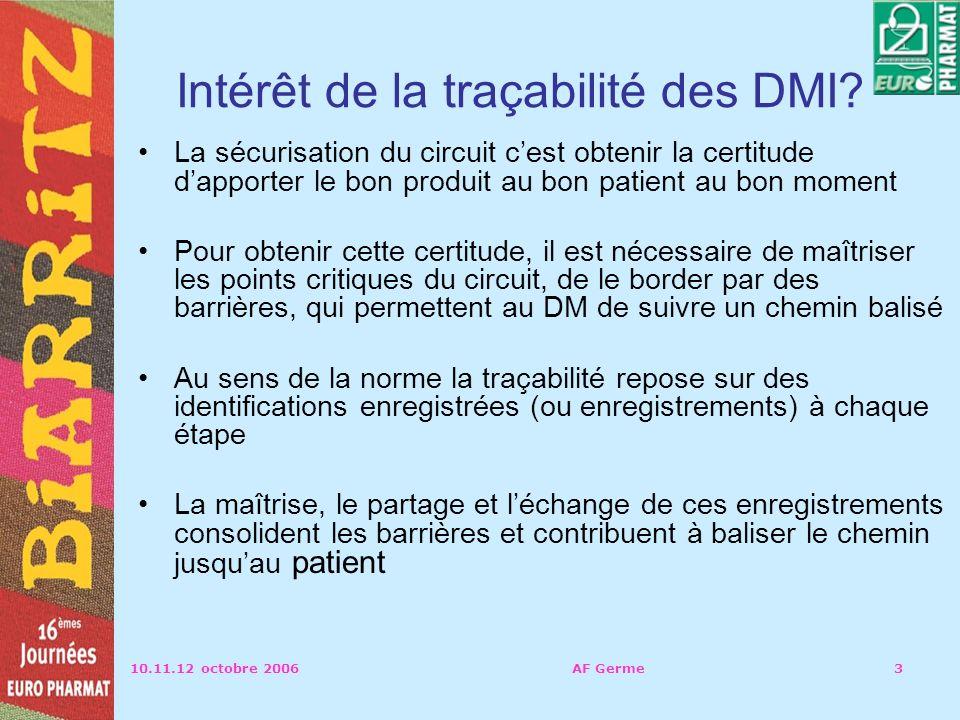 10.11.12 octobre 2006AF Germe3 Intérêt de la traçabilité des DMI.