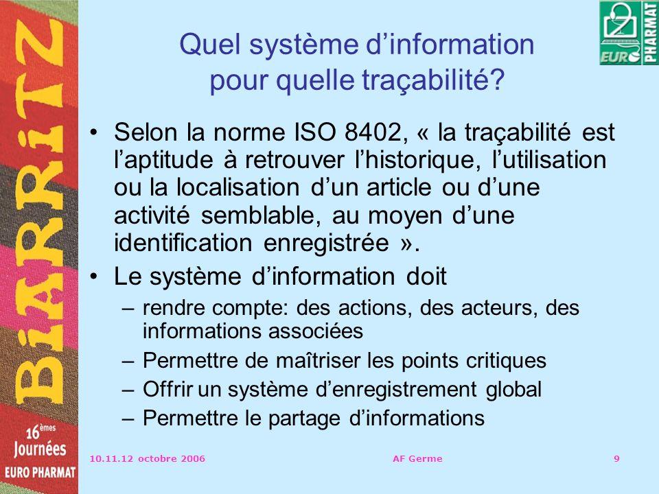10.11.12 octobre 2006AF Germe9 Quel système dinformation pour quelle traçabilité.