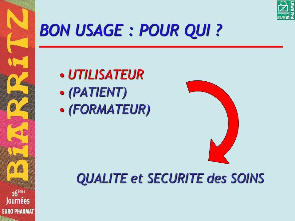 BON USAGE : POUR QUI ? UTILISATEURUTILISATEUR (PATIENT)(PATIENT) (FORMATEUR)(FORMATEUR) QUALITE et SECURITE des SOINS