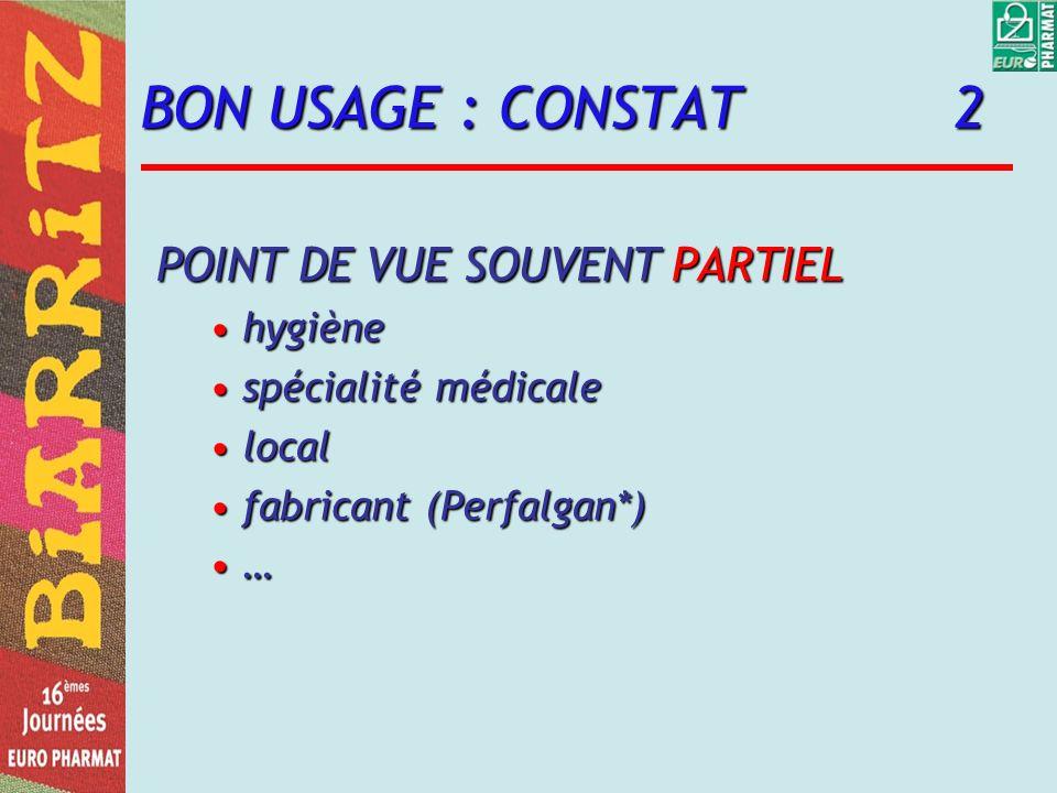 BON USAGE : CONSTAT 2 POINT DE VUE SOUVENT PARTIEL hygiènehygiène spécialité médicalespécialité médicale locallocal fabricant (Perfalgan*)fabricant (Perfalgan*) …