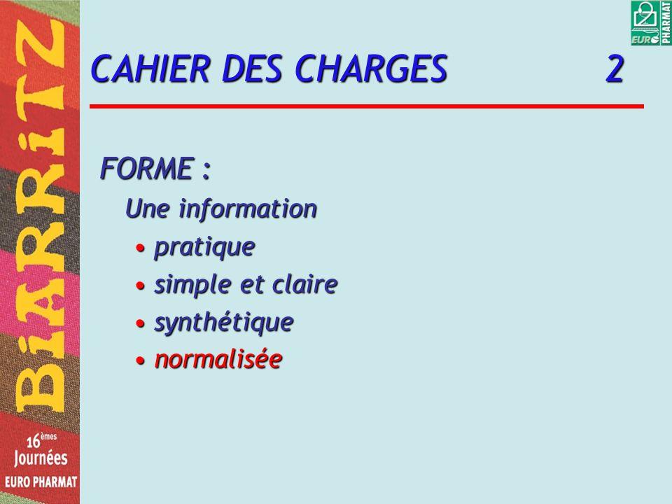 CAHIER DES CHARGES 2 FORME : Une information pratiquepratique simple et clairesimple et claire synthétiquesynthétique normaliséenormalisée