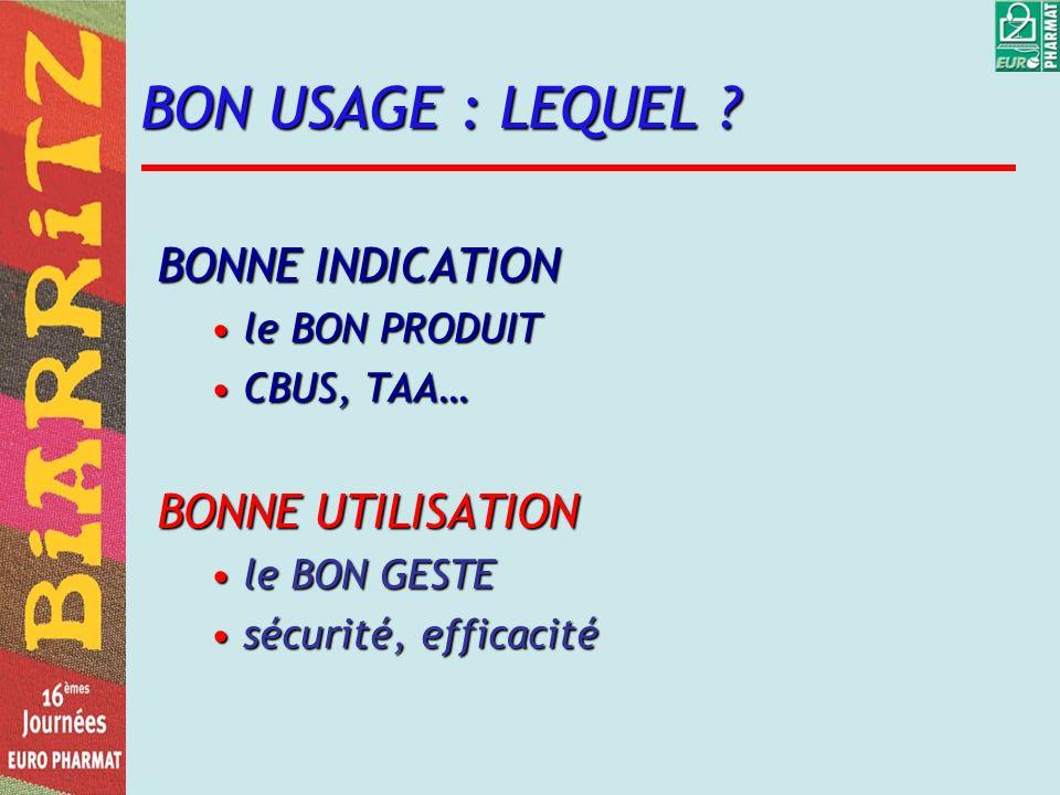BON USAGE : LEQUEL ? BONNE INDICATION le BON PRODUITle BON PRODUIT CBUS, TAA…CBUS, TAA… BONNE UTILISATION le BON GESTEle BON GESTE sécurité, efficacit