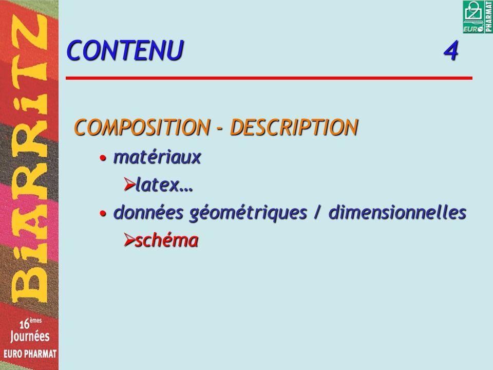 CONTENU 4 COMPOSITION - DESCRIPTION matériauxmatériaux latex… latex… données géométriques / dimensionnellesdonnées géométriques / dimensionnelles schéma schéma