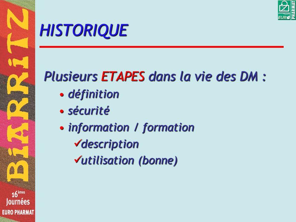 HISTORIQUE Plusieurs ETAPES dans la vie des DM : définitiondéfinition sécuritésécurité information / formationinformation / formation description description utilisation (bonne) utilisation (bonne)