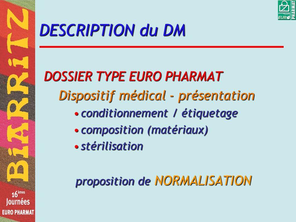 DESCRIPTION du DM DOSSIER TYPE EURO PHARMAT Dispositif médical - présentation conditionnement / étiquetageconditionnement / étiquetage composition (ma