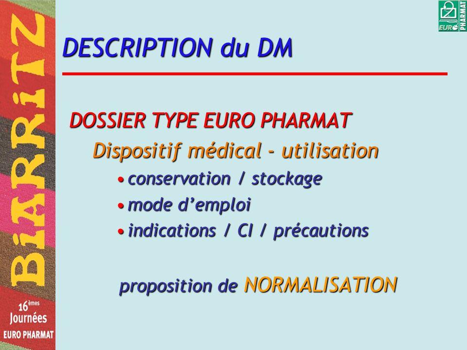 DESCRIPTION du DM DOSSIER TYPE EURO PHARMAT Dispositif médical - utilisation conservation / stockageconservation / stockage mode demploimode demploi i