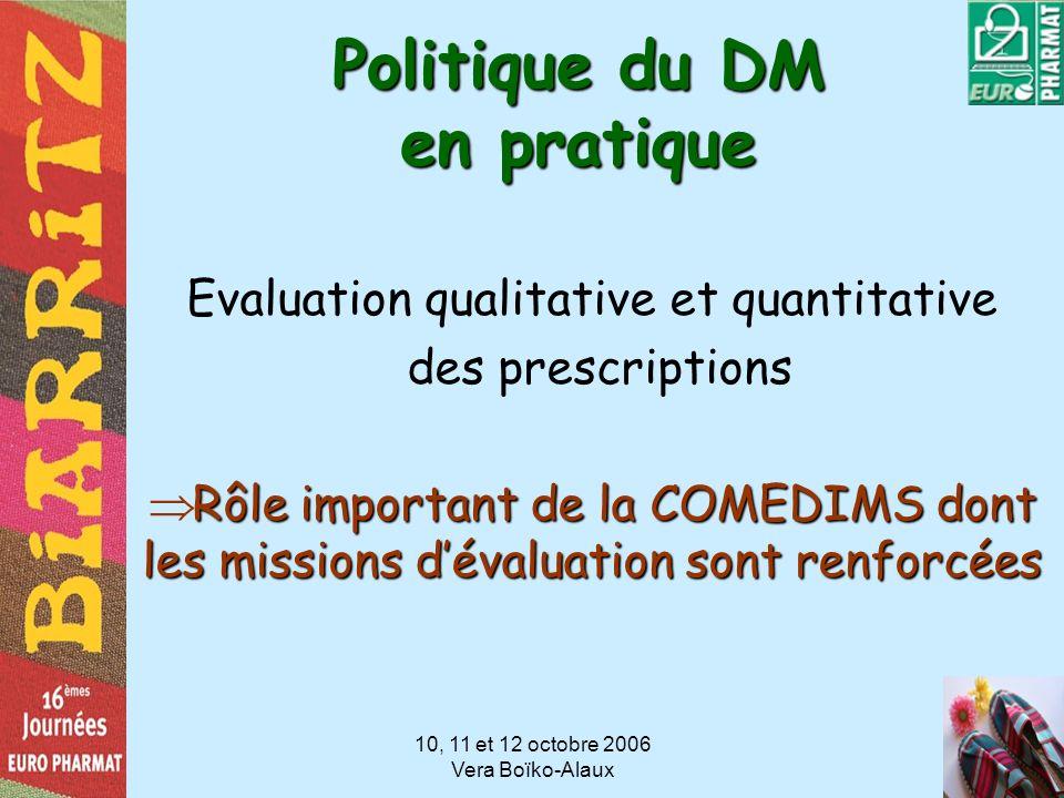10, 11 et 12 octobre 2006 Vera Boïko-Alaux Politique du DM en pratique Evaluation qualitative et quantitative des prescriptions Rôle important de la C