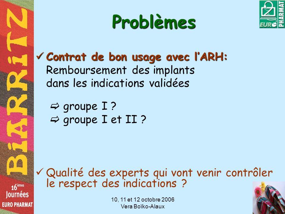 10, 11 et 12 octobre 2006 Vera Boïko-Alaux Problèmes Contrat de bon usage avec lARH: Contrat de bon usage avec lARH: Remboursement des implants dans l