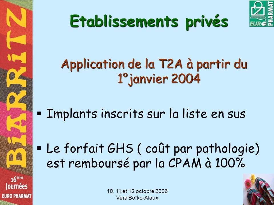 10, 11 et 12 octobre 2006 Vera Boïko-Alaux Etablissements privés Application de la T2A à partir du 1°janvier 2004 Implants inscrits sur la liste en su