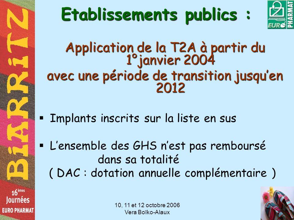10, 11 et 12 octobre 2006 Vera Boïko-Alaux Etablissements publics : Application de la T2A à partir du 1°janvier 2004 avec une période de transition ju