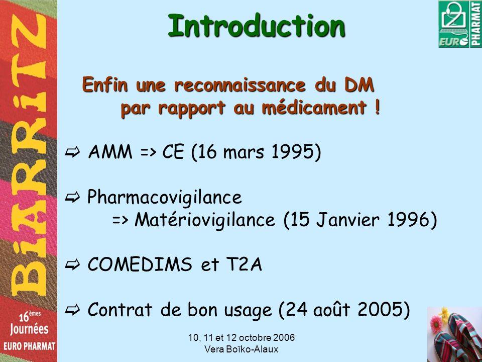 10, 11 et 12 octobre 2006 Vera Boïko-AlauxIntroduction Enfin une reconnaissance du DM par rapport au médicament ! par rapport au médicament ! AMM => C