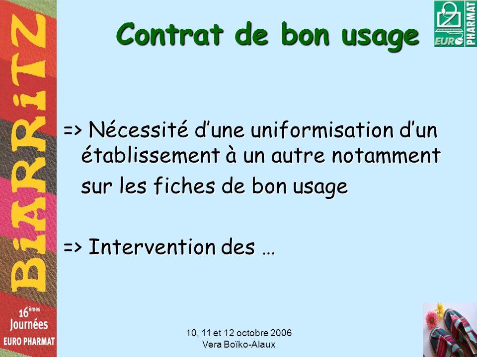 10, 11 et 12 octobre 2006 Vera Boïko-Alaux Contrat de bon usage Nécessité dune uniformisation dun établissement à un autre notamment => Nécessité dune