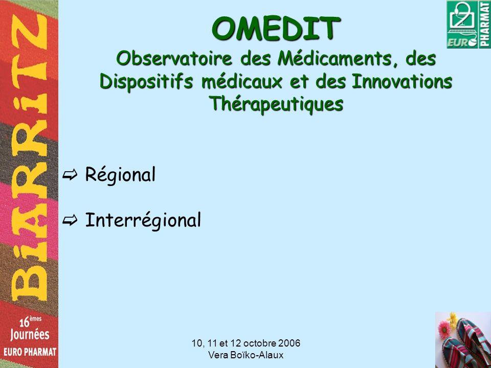 10, 11 et 12 octobre 2006 Vera Boïko-Alaux OMEDIT Observatoire des Médicaments, des Dispositifs médicaux et des Innovations Thérapeutiques Régional In