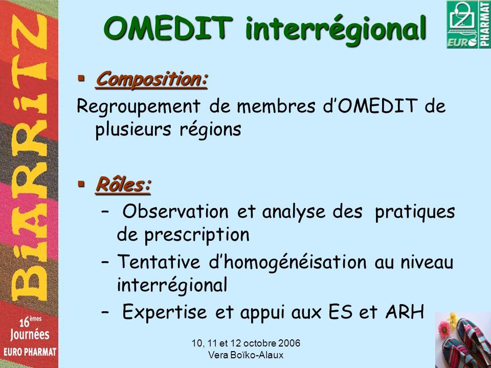 10, 11 et 12 octobre 2006 Vera Boïko-Alaux OMEDIT interrégional Composition: Composition: Regroupement de membres dOMEDIT de plusieurs régions Rôles: