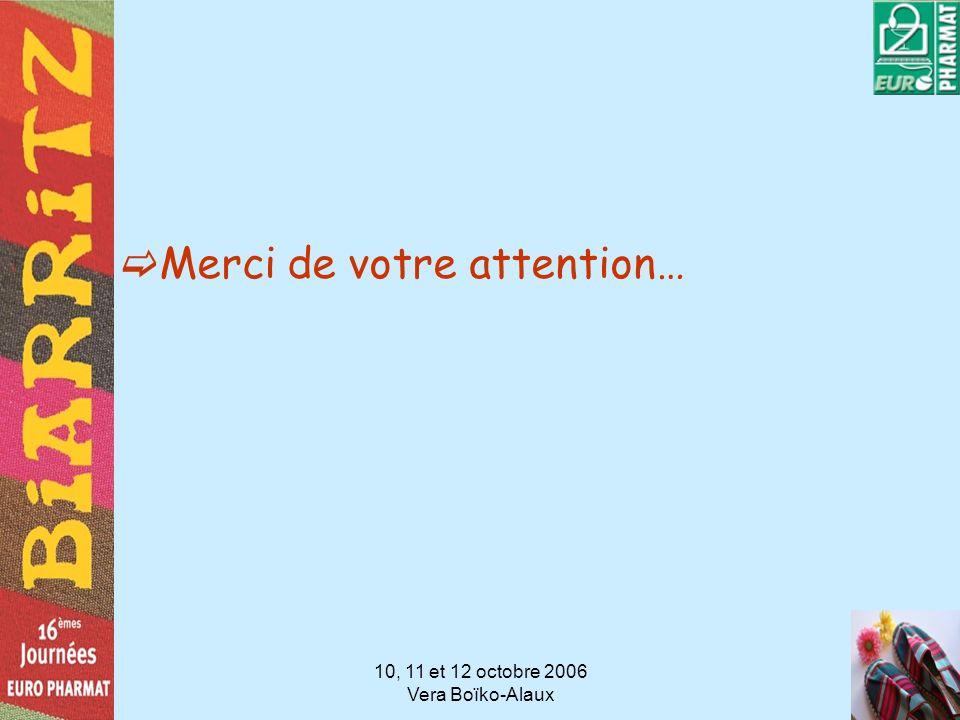 10, 11 et 12 octobre 2006 Vera Boïko-Alaux Merci de votre attention…
