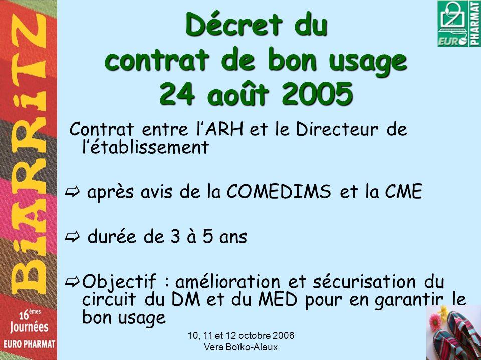 10, 11 et 12 octobre 2006 Vera Boïko-Alaux Décret du contrat de bon usage 24 août 2005 Contrat entre lARH et le Directeur de létablissement après avis