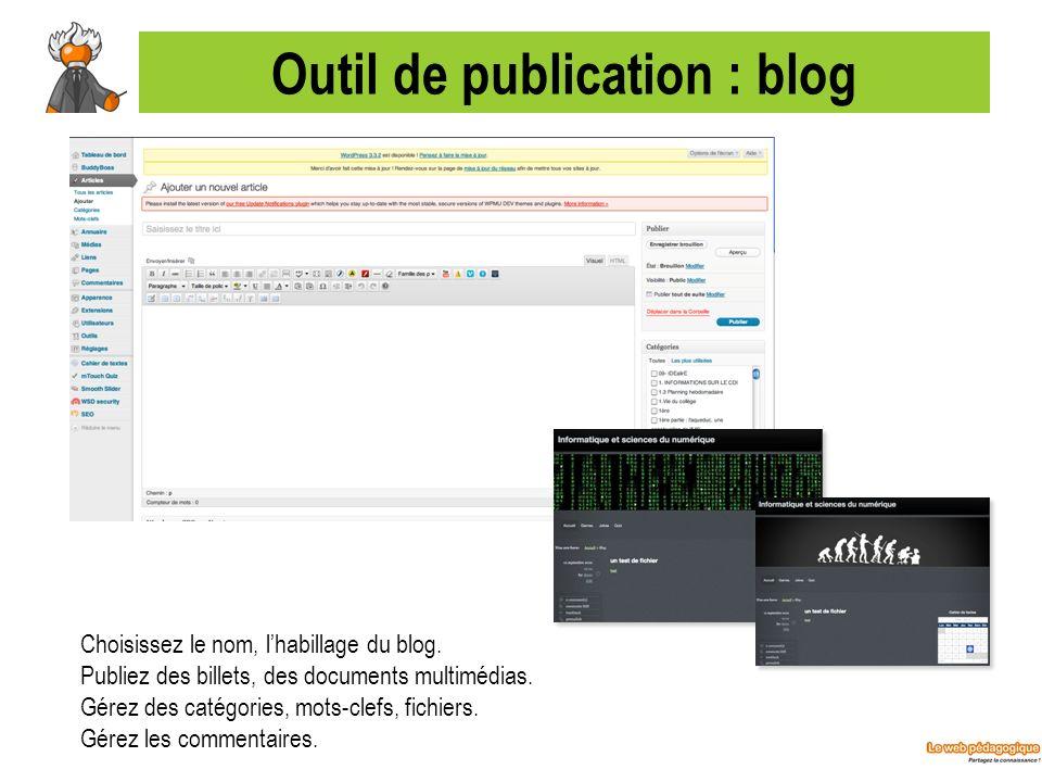 Outil de publication : blog Choisissez le nom, lhabillage du blog. Publiez des billets, des documents multimédias. Gérez des catégories, mots-clefs, f