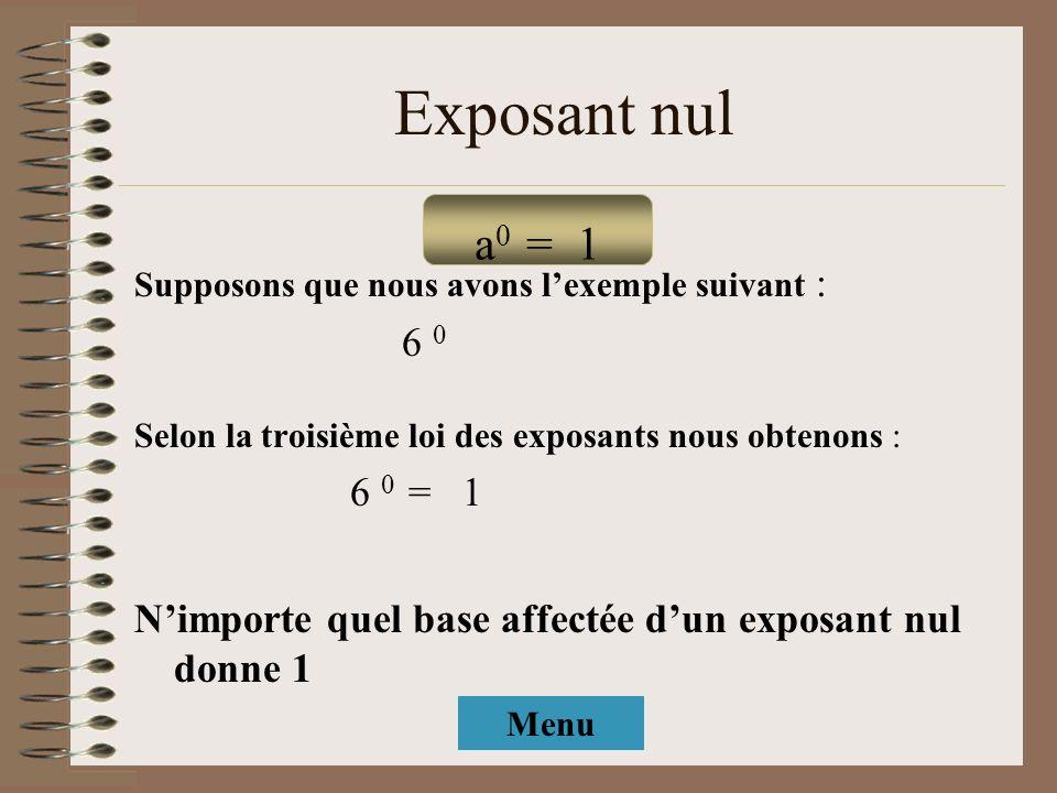 Exposant nul Supposons que nous avons lexemple suivant : 6 0 Selon la troisième loi des exposants nous obtenons : 6 0 = 1 Nimporte quel base affectée