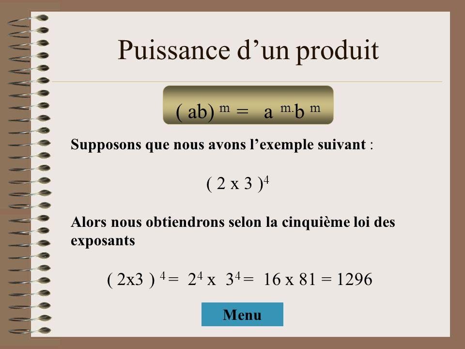 Puissance dun produit Supposons que nous avons lexemple suivant : ( 2 x 3 ) 4 Alors nous obtiendrons selon la cinquième loi des exposants ( 2x3 ) 4 =