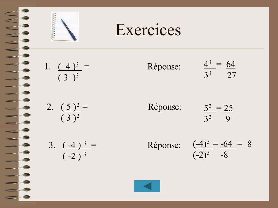 Exercices 1.( 4 ) 3 = Réponse: ( 3 ) 3 2.( 5 ) 2 = Réponse: ( 3 ) 2 3.( -4 ) 3 = Réponse: ( -2 ) 3 4 3 = 64 3 3 27 5 2 = 25 3 2 9 (-4) 3 = -64 = 8 (-2