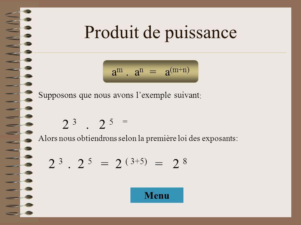 Produit de puissance a m. a n = a (m+n) Supposons que nous avons lexemple suivant : 2 3. 2 5 = Alors nous obtiendrons selon la première loi des exposa