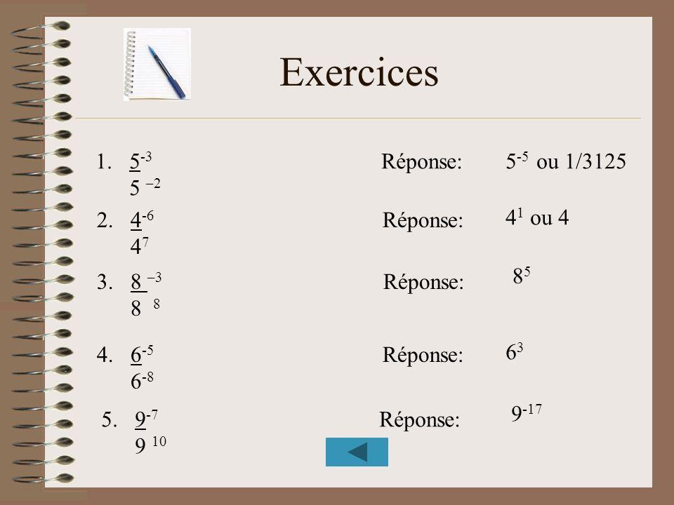 Exercices 1.5 -3 Réponse: 5 –2 2.4 -6 Réponse: 4 7 3.8 –3 Réponse: 8 8 4.6 -5 Réponse: 6 -8 5.9 -7 Réponse: 9 10 5 -5 ou 1/3125 4 1 ou 4 8585 6363 9 -
