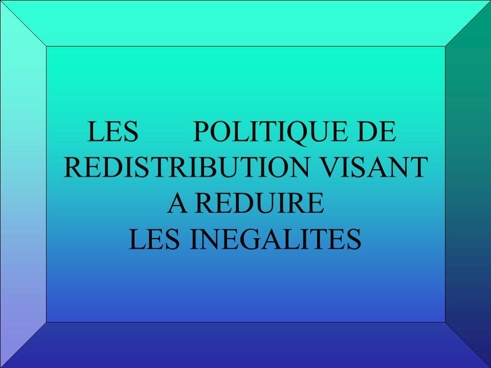 LES POLITIQUE DE REDISTRIBUTION VISANT A REDUIRE LES INEGALITES