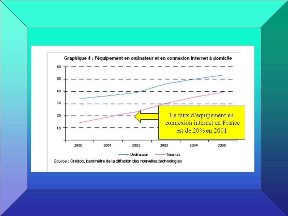 Le taux déquipement en connexion internet en France est de 20% en 2001