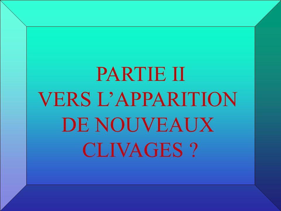 PARTIE II VERS LAPPARITION DE NOUVEAUX CLIVAGES ?