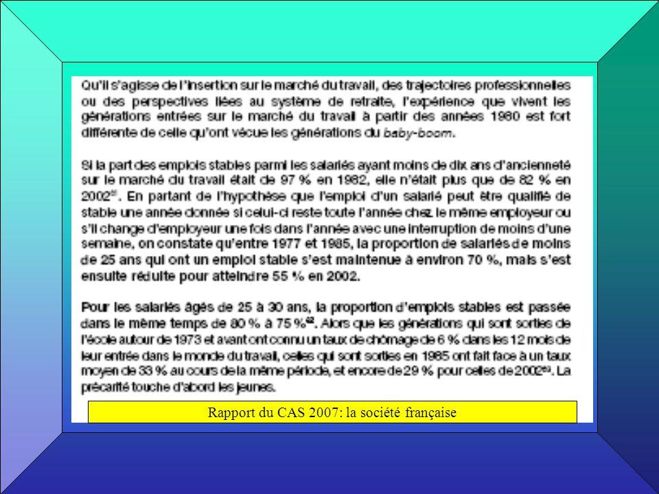 Rapport du CAS 2007: la société française