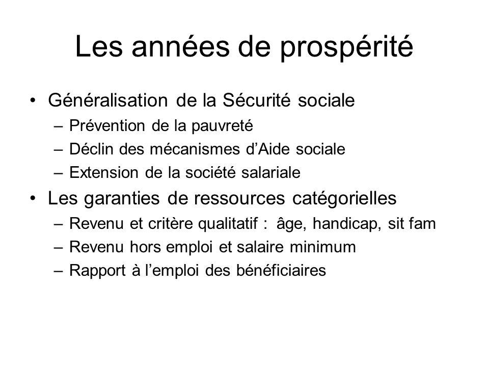 Les années de prospérité Généralisation de la Sécurité sociale –Prévention de la pauvreté –Déclin des mécanismes dAide sociale –Extension de la sociét